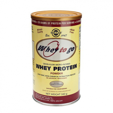 """""""Whey to go"""". Proteína de suero en polvo. Sabor vainilla. 340g, Solgar"""