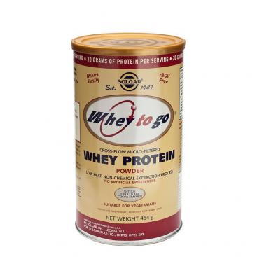 """Whey to go"". Proteína de suero en polvo. Sabor chocolate. 454 g, Solgar"