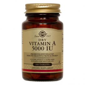 """Vitamina A """"seca"""" 5000 ui. 100 comprimidos, Solgar"""