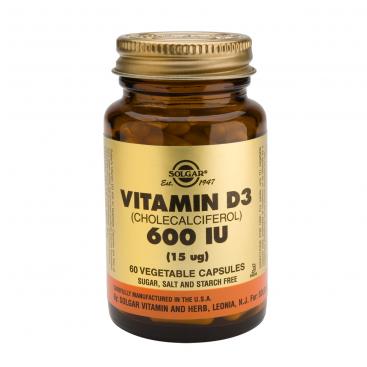 Vitamina D3 600 ui. 60 cápsulas, Solgar