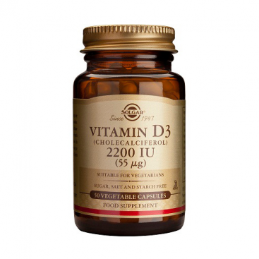 Vitamina D3 2200 ui, 100 cápsulas, Solgar